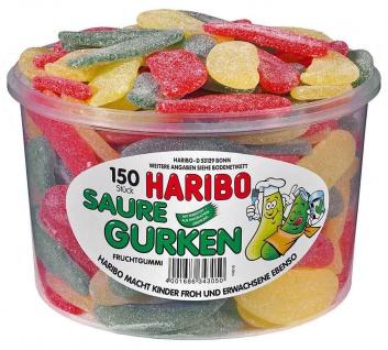 Haribo Saure Gurken Fruchtgummi Weingummi Dose 150 Stück 1350g