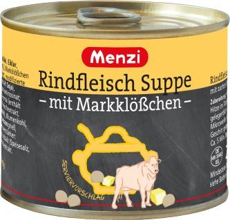 Menzi Rindfleisch Suppe mit Marktklößchen Gemüse und Graupen 200ml