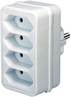 Brennenstuhl Adapter und Eurostecker mit Kindersicherung 4 fach weiß