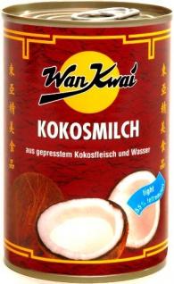 Wan Kwai Kokosmilch, light aus gepresstem Kokosfleisch und Wasser, 6er Pack (6 x 400 ml Dose)