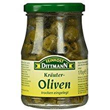 Feinkost Dittmann Kräuteroliven, grün ohne Stein, 170 g
