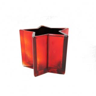 Windlicht in Sternenform dunkelrot schimmernd für Teelicht 9cmx13cm