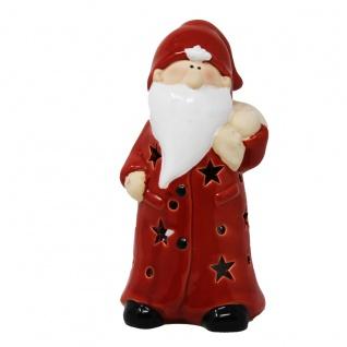 Weihnachtsmann Windlicht Teelicht rot mit Geschenkesack Höhe 19cm