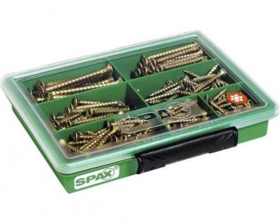 Spax Sortiment Schrauben-Set klein mit 7 Abmessungen, Senkkopf 245 Stück