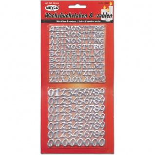 Meyco selbstklebende Wachsbuchstaben und Ziffern in silber 10 bis 14mm