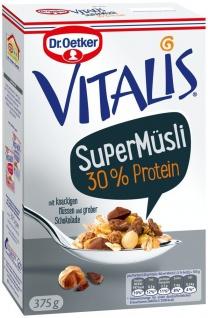 Vitalis Super Müsli 30% Protein mit knackigen Nüssen und grober Schokolade 375g
