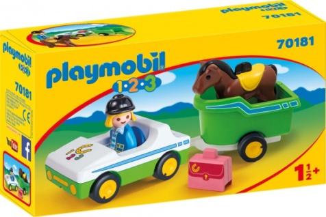 Playmobil 1 2 3 PKW mit Pferdeanhänger Konstruktionsspiel 70181