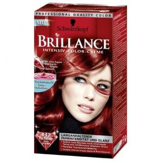 Schwarzkopf Brillance Intensiv-Color-Creme Stufe 3, 842 Kaschmir Rot, 2er Pack (2 Stück)