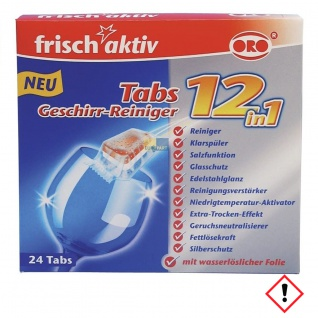 ORO frisch aktiv Geschirr Reiniger Tabs 12 in1 Spülmaschine 24 Tabs