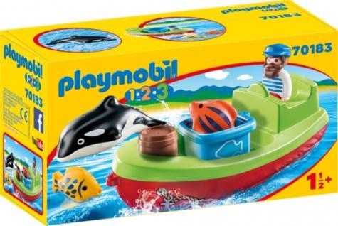 Playmobil 1 2 3 Seemann mit Fischerboot Konstruktionsspiel 70183