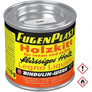 Bindulin Fugenplast Wasserfester Holzkitt Farbe Teak Metalldose 110g