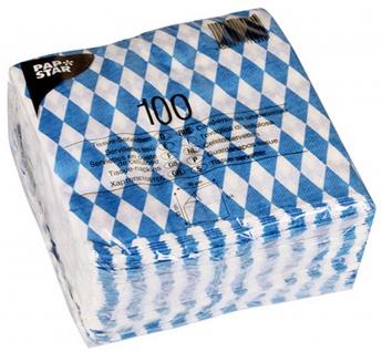 Papstar 11121 100 Servietten, 1-lagig 1/4-Falz, 33 x 33 cm, bayrisch blau