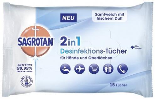 Sagrotan 2in1-Desinfektionstücher für 15er