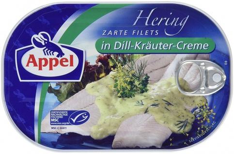 Appel Feinkost Hering zarte Filets in Dill Kräuter Creme 200g