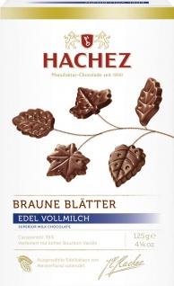 Hachez Braune Blätter Edel Vollmilch Schokolade Blattform 125g