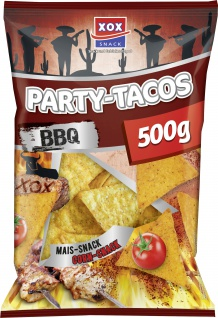 XOX Party Tacos Barbecue Mais Snack feurig pikant knusprig 500g
