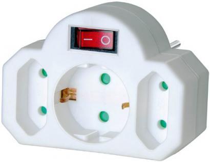Brennenstuhl Mehrfachsteckdose, Steckdosenadapter 3-fach mit Schalter zum Stromsparen (2 x Eurosteckdose & 1 x Schutzkontakt) Farbe: weiß