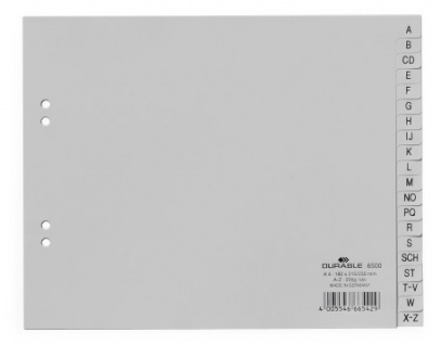 Durable 650010 A-Z-Register (PP, A4 teildeckend, 20-tlg., 215/230 x 180 mm) 20 Stück grau
