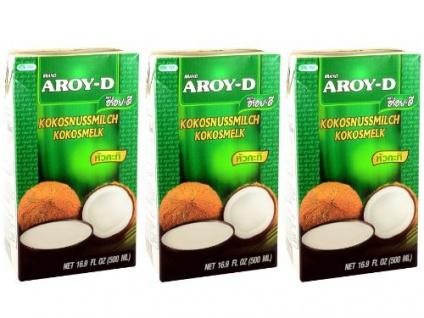 Kokosmilch Aroy-D natürliche Kokusmilch zum Backen und Kochen 500ml 3erPack