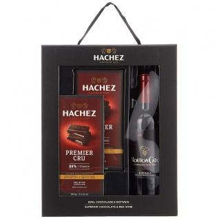 Hachez Geschenktasche Premier Cru und Mouton Cadet Chocolade and Wine