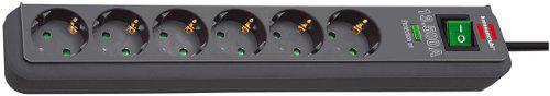 Brennenstuhl Eco-Line Überspannungsschutz-Steckdosenleiste 6-fach anthrazit mit Schalter, 1159710