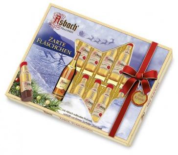 Asbach Weihnachtsfläschchen mit Kruste in Zartbitter Chocolade 250g