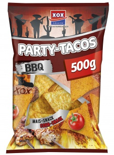 XOX Party Tacos Barbecue Mais Snack pikant knusprig 500g 3er Pack