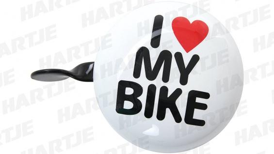 Fahrrad-Glocke wei I love my bike Durchmesser ca. 5cm