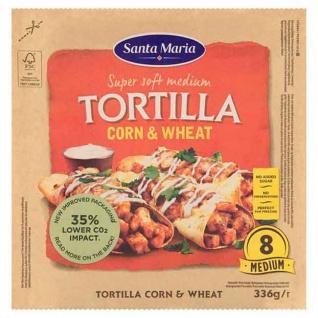 Santa Maria Corn und Wheat Tortilla Flasenbrote mit Maismehl 336g