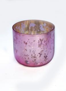 Windlicht Außenfarbe rosa Farbe innen Gold gesprenkelt 10x9cm