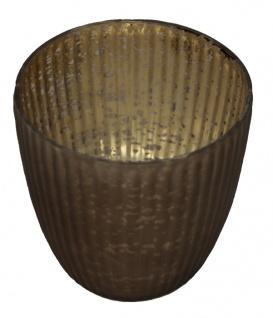 Windlicht Teelichthalter außen braun und innen Gold Muster 11cm