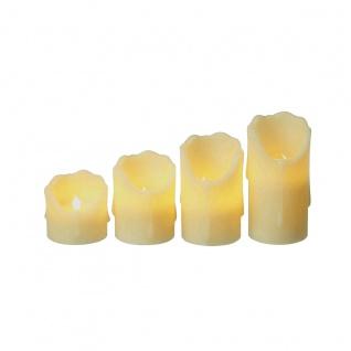 LED Echtwachskerzen mit beweglicher LED Flamme warmweiß 4er Set
