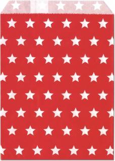 25 Geschenktueten rot Sterne weiss
