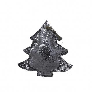 Tannen Anhänger weihnachtliche Dekoration klein silber Glitzer