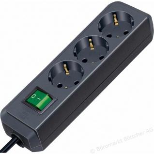 Steckdosenleiste 3-fach schwarz mit Schalter 5 Meter Zuleitung