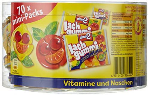nimm2 Lachgummi Minis Dose Fruchtgummi mit Vitaminen 70 Packs