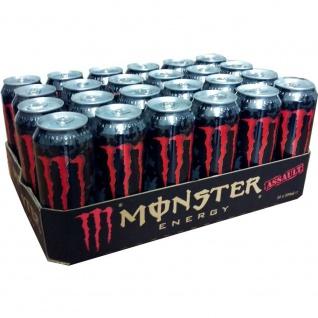 Monster Assault Erfrischungsgetränk mit Taurin Guarana 500ml 24er Pack