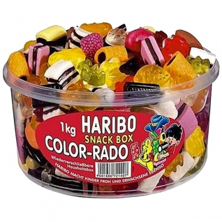 Haribo Color Rado Fun Mix Lakritz und Fruchtgummi 1000g Box 5er Pack
