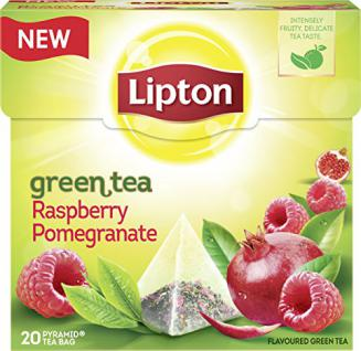 Lipton Grüner Tee Himbeere Granatapfel Pyramidenbeutel 3er Pack