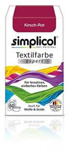 """Simplicol Textilfarbe expert -Für kreatives, einfaches Färben - 1704 """" Kirsch-Rot"""" Neu!"""