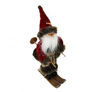 Nikolaus Weihnachtsmann auf Skiern weihnachtliche Figur 20x9cm