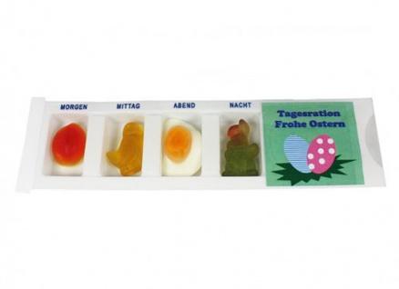 Tablettenbox Frohe Ostern gefüllt mit Fruchtgummi Scherzartikel 25g