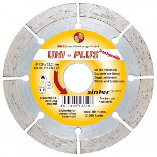 Disc Dia Scheibe Uni Plus Bau für Trocken und Nassschnitt 125x22.2 mm