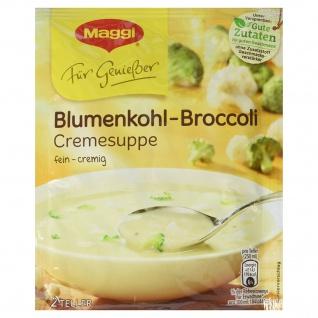 Maggi Für Genießer, Blumenkohl-Broccoli Cremesuppe, 50 g Beutel, ergibt 2 Teller