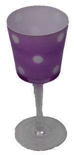 Teelichthalter hat die Form von einem Kelch pink mit Punkten