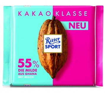 Ritter Sport Kakao-Klasse 55% Ghana - Die Milde aus Ghana mit Milch 100g
