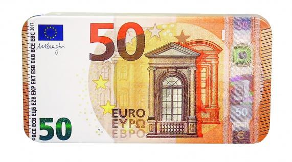 Heidel Euro Geldschein Vollmilchschokolade Metalldose 50 Euro 22g
