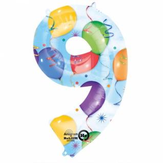 Super Shape Party Discount Ballongrüsse XXL Zahl 9th Bunt 3 Ballons