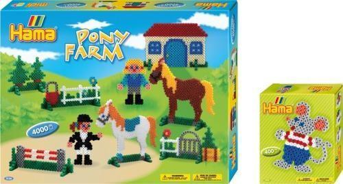 Hama 3902V - Bügelperlen 2er-Set Ponyhof und Maus
