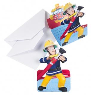 8 Einladungskarten Fireman Sam